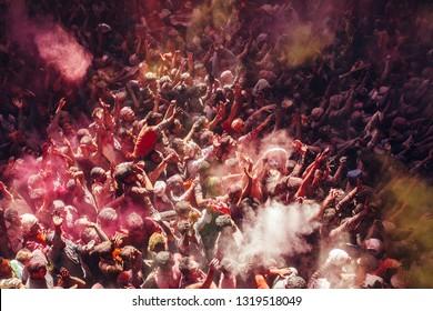 VRINDAVAN, INDIA - MARCH 12, 2017 : Holi celebration at Banke Bihari Temple in Vrindavan.