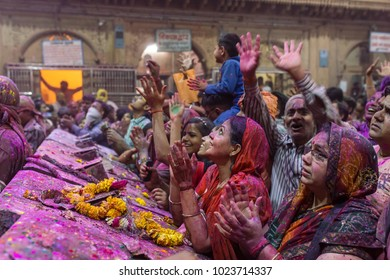 Vrindavan, India - March 20, 2016: Holi celebration in the Hindu Banke Bihare temple in Vrindavan, Uttar Pradesh, India.