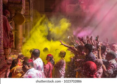 Vrindavan, India - March 22, 2016: Holi celebration in the Hindu Banke Bihare temple in Vrindavan, Uttar Pradesh, India.