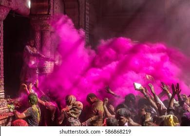 Vrindavan, India. March 23, 2016. Holi celebration in the Hindu Banke Bihare temple in Vrindavan, Uttar Pradesh, India.