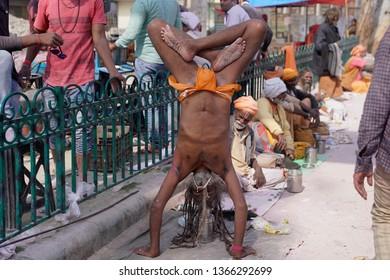 Vrindavan, Mathura, Uttar Pradesh, India - 17 March 2019: Cityscape of Indian living in town.