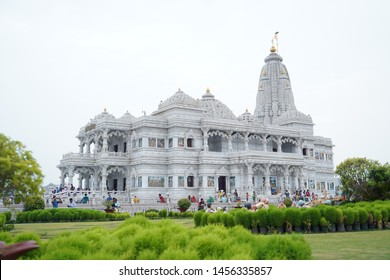 Vrindavan, Mathura, Uttar Pradesh / India - June 21 2019: Prem Mandir is a Hindu temple in Vrindavan, Mathura, India. It is maintained by Jagadguru Kripalu Parishat,