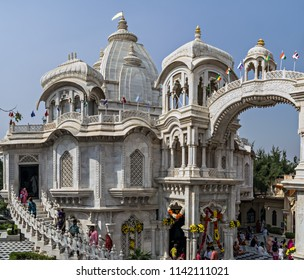 Vrindavan, Uttar Pradesh, India - November 4th, 2016 : ISKCON Temple, is one of the most sought-after places by the devotees of Lord Krishna. It is also known as Krishna Balaram Mandir.