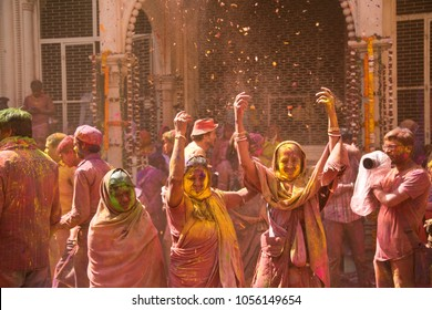 Vrindavan, Uttar Pradesh/India-2 27 2018: Widows participate in Holi celebrations at Vrindavan, Uttar Pradesh, India