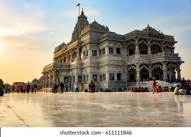 Vrindavan,India - March 12, 2017 : Prem Mandir temple is one of the beautiful temple as a landmark in Vrindavan. During Holi festival the place attracts a lot of Hindu people and tourists.