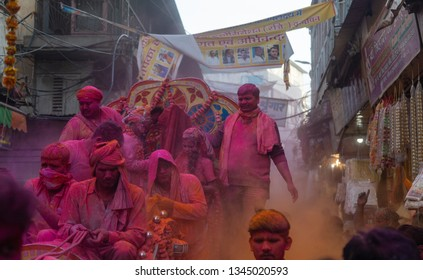 Vrindavan,Uttar Pradesh/India - March 17, 2019 : Celebrations of Holi (The festival of colours) in the streets of Vrindavan, The city of Lord Krishna Temples