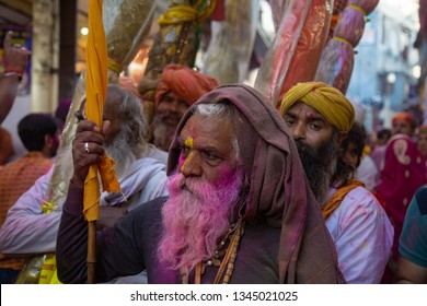 Vrindavan,Uttar Pradesh/India - March 17, 2019 : Celebrations of Holi(The festival of colours) in the streets of Vrindavan, The city of Lord Krishna Temples