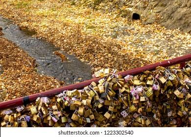 Vrnjacka Banja, Serbia - october 04 2018: Bridge of love with millions of locks. Bridge in Vrnjacka Banja where people in love lockup locks in order to save own love.