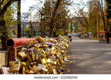 Vrnjacka Banja, Serbia - october 04 2018: Bridge of love with millions of locks. Bridge in Vrnjacka Banja where people in love lockup locks in order to save own love.