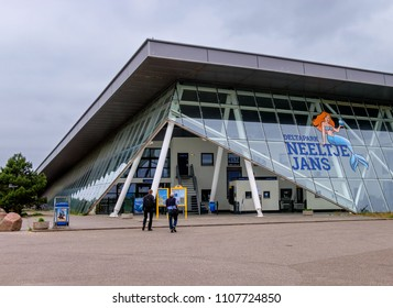 Vrouwenpolder, Netherlands, June 2018. Visitor center of Deltapark Neeltje Jans, an educational water park and museum, near the famous Oosterscheldedam storm surge barrier