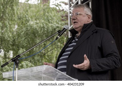 VRSAC, SERBIA - APRIL 10, 2016: President of the Serbian Radical Party Vojislav Seselj holding a speech during a political rally in Vrsac, Serbia.