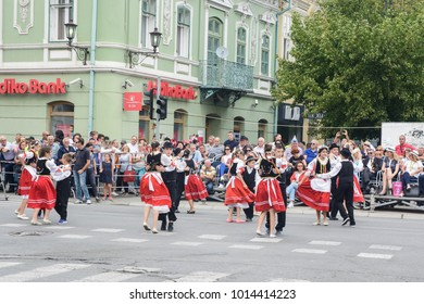 "Vrsac, Serbia, Banat, September 17, 2017. Street traditional folklore event in the town of Vrsac. ""Grape harvest""."
