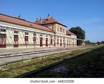 VRSAC, SERBIA - JUNE 23, 2017: Side view of the train station in Vrsac, a city located in the South Banat District of the autonomous province of Vojvodina, Serbia.
