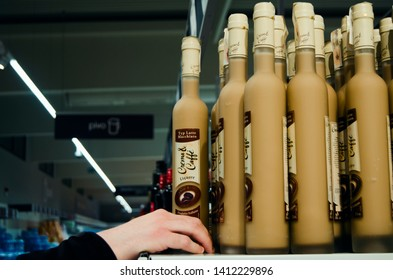 Vrsac, Serbia - May 28, 2019: Selection of liqueur bottles in the store - Image