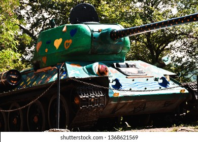 Vrsac, Vojvodina / Serbia July 27, 2018: An old tank painted with hearts