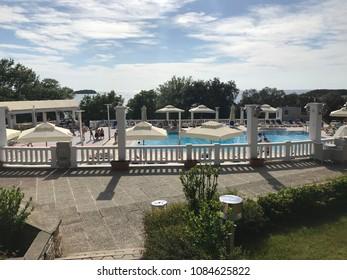 VRSAR, CROATIA - APRIL 30, 2018. - Hotel pool in Funtana near Vrsar, Croatia.