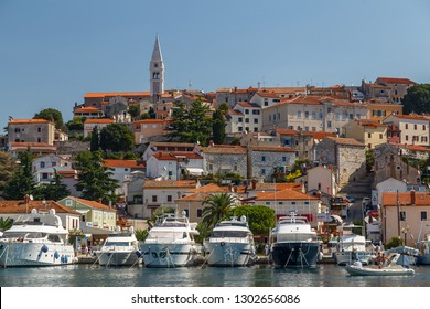VRSAR / CROATIA - AUGUST 2015: View to the marina and old town of Vrsar, Istria, Croatia