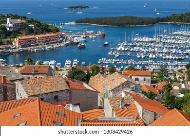 VRSAR / CROATIA - AUGUST 2015: View to the old town and harbour of Vrsar, Istria, Croatia