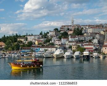 Vrsar, Croatia, Europe, June 2018. View from city port to Saint Martin's Church.