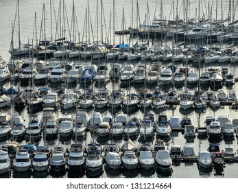 Vrsar, Croatia - May 22, 2018: Top view on yachts, port, Adriatic sea near small Croatian town Vrsar.
