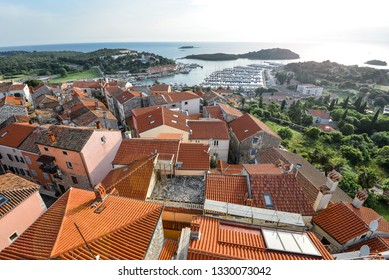 Vrsar, Croatia - May 22, 2018: View on old red roofs of small Croatian town Vrsar, Croatia