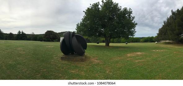 VRSAR, CROATIA - MAY 30, 2018. - Dusan Dzamonja, Croatian artist, sculpture park near Vrsar, Croatia.