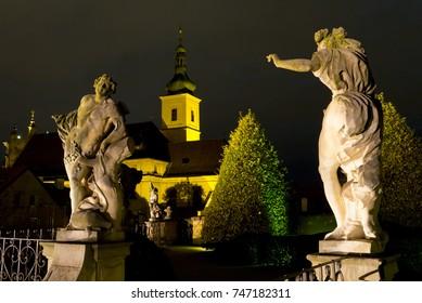 Vrtba garden at night in Prague, Czech Republic