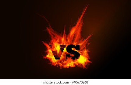 VS comparison of a background with a fiery flame on a black background