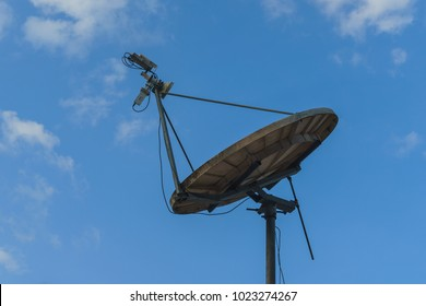 VSAT on the rooftop with a blue skies