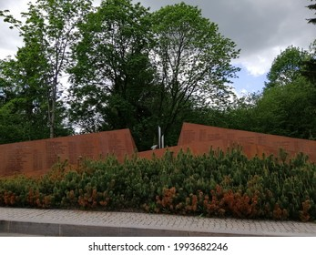 """Vsevolozhsk,Leningrad Region, Russia-May 25,2021.Memorial """"Garden of Remembrance"""",dedicated to 224 victims of plane crash over Sinai Peninsula.iron monument with names of all who crashed"""