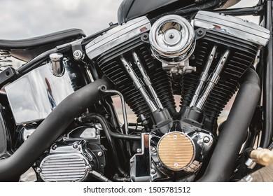 V-shaped bike engine with chrome parts - customized motorcycle