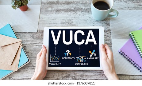 VUCA world concept on screen. Volatility, uncertainty, complexity, ambiguity.