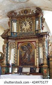 VUGROVEC, CROATIA - MAY 07: Altar of the Saint Mishael in the Church of Saint Saint Michael in Vugrovec, Croatia on May 07, 2014