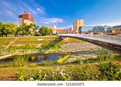 Vukovar city view from Vuka river bridge, Slavonija region of Croatia