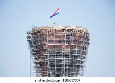 VUKOVAR, CROATIA - AUGUST 14, 2018 : Vukovar water tower as a symbol of the city suffering in the Croatian War of Independence.