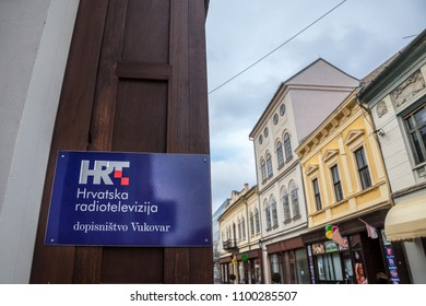 VUKOVAR, CROATIA - FEBRUARY 25, 2018: HRT logo on their office in Vukovar. HRT, or Hrvatska Radiotelevizija, or Croatian Radiotelevision, is the public television and radio channels of the State