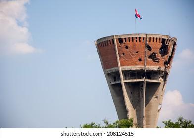 VUKOVAR, CROATIA - July 7, 2014: Damaged water tower in Vukovar, Croatia.