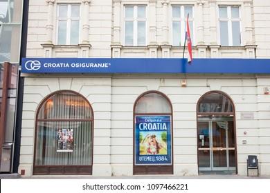 VUKOVAR, CROATIA - MAY 12, 2018: Croatia Insurance on their main agency in Vukovar. Croatia Osiguranje is the old and biggest insurance company in Croatia, beloning to Adris Grupa