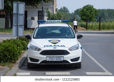 VUKOVAR, CROATIA - MAY 13, 2018: Croatian police forces car built by Ford. The Croatian police is also known as MUP, or Policija, and is controlled by the ministry of foreign affairs