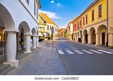 Vukovar town square and architecture street view, Slavonija region of Croatia