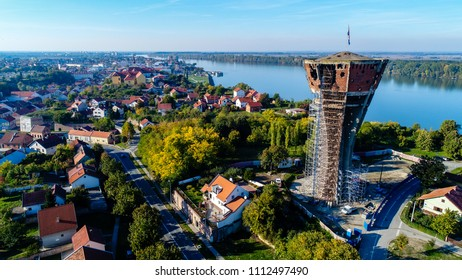 Vukovar water tower with Danube in the background