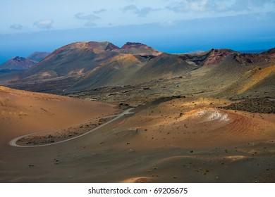 Vulacanic landscape of ( Montains of Fire ) ,in Lanzarote Island, Spain