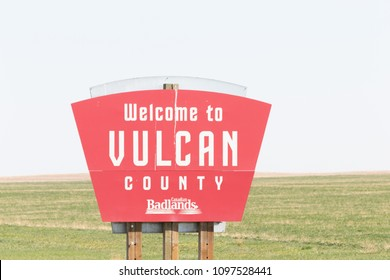 Vulcan, Alberta / Canada - May 12 2018 / Welcome to Vulcan sign on Highway