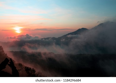 A vulcan in Bali during the sunrise