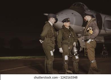 Vulcan crew at Wellesbourne airfield, Wellesbourne / UK, October 2017