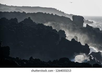 vulcanic coastline with a rough sea, Lanzarote, canary Islands, Spain, Europe