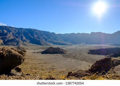 Vulcanic landscape and a sun. El teide national park in Tenerife, spain