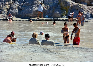 VULCANO AEOLIAN ISLANDS ITALY SEPTEMBER 22 -tourists who bathe in the thermal spa of the island-September 22, 2017,Vulcano Eolian Islands Italy