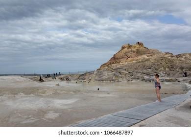 Vulcano, Aeolian Islands, Sicily -  April 02 2018: thermal mud in Vulcano, Aeolian Islands