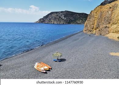Vulcano beach Mavra Volia on Chios island, Greece